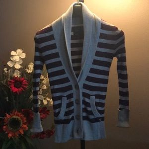 Deep purple & grey striped cardigan sweater ca